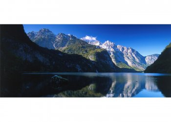 Watzmannmassiv spiegelt sich im Königssee, Oberbayern, Bayern, Deutschland
